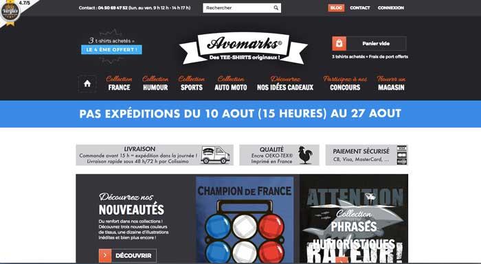 Avomarks - site web tshirts - eole paris