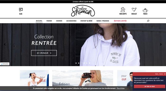 Le fabuleux shaman - site web tshirt - eole paris