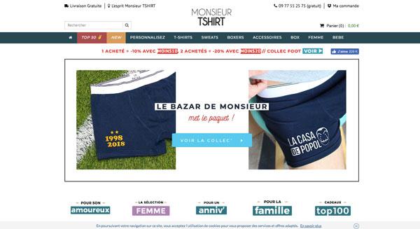 Monsieur tshirt - Site web tshirts - EOLE PARIS