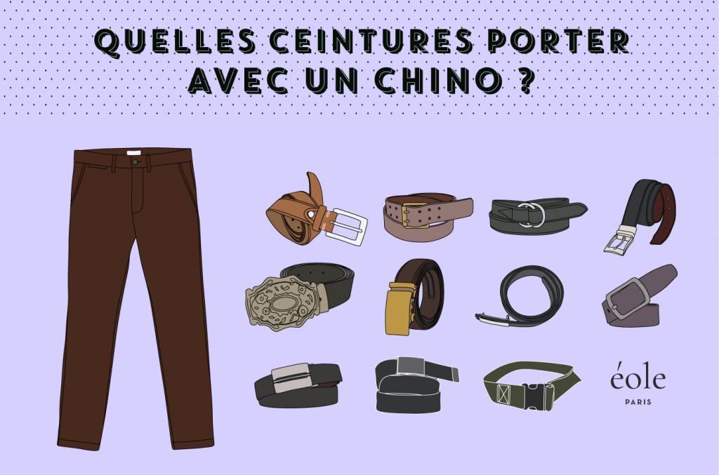 Quelles ceintures porter avec un chino - EOLE PARIS