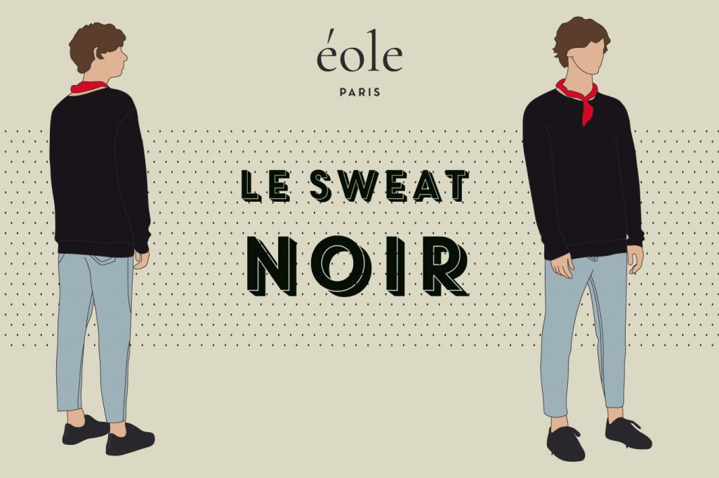 Le sweat NOIR - EOLE PARIS