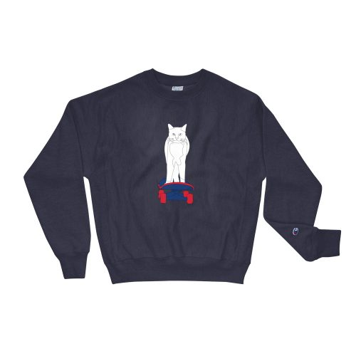 Sweat Bleu | Chat sur son Skate | EOLE Paris And Champion