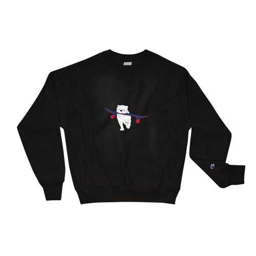 Sweat Noir | Chien promenant son Skate | EOLE Paris And Champion