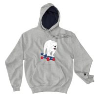 Sweat A Capuche Gris | Chiens sur son skate | EOLE Paris x Champion