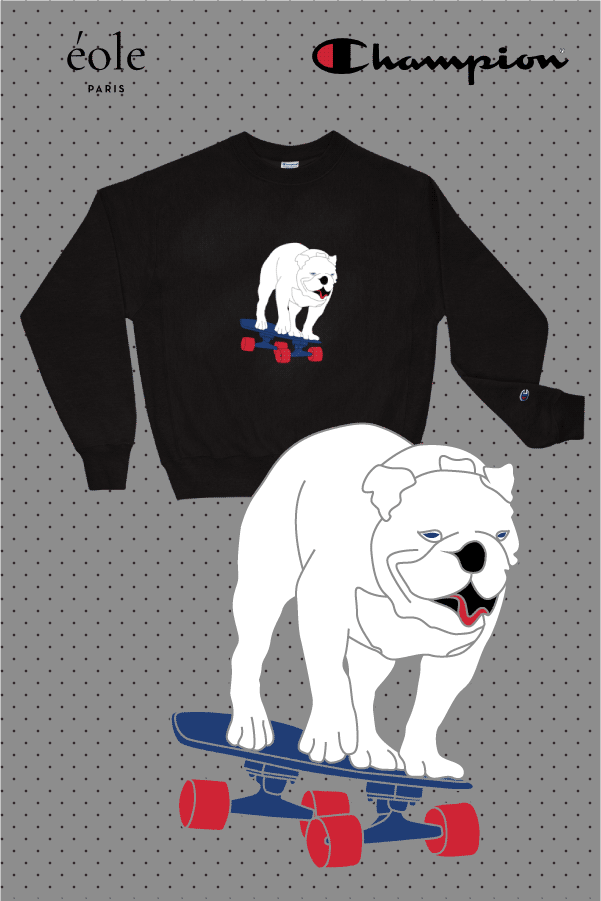 Sweat noir chien skateboard - EOLE PARIS