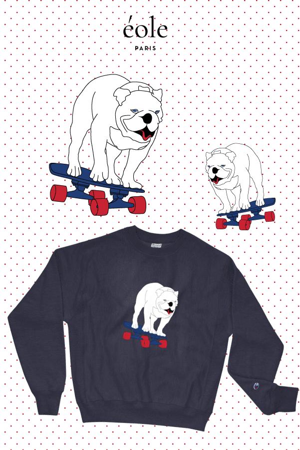 Sweat Bleu chien skateboard - EOLE PARIS